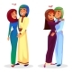 Vector Cartoon Arab Muslim Couples Hugging - GraphicRiver Item for Sale