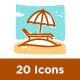 20 Summer Holiday Flat Line Icons