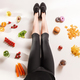 Athletic girl with healthy food on floor - PhotoDune Item for Sale
