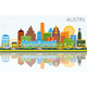 Austin Texas Skyline with Color Buildings - GraphicRiver Item for Sale