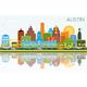 Austin Texas Skyline with Color Buildings