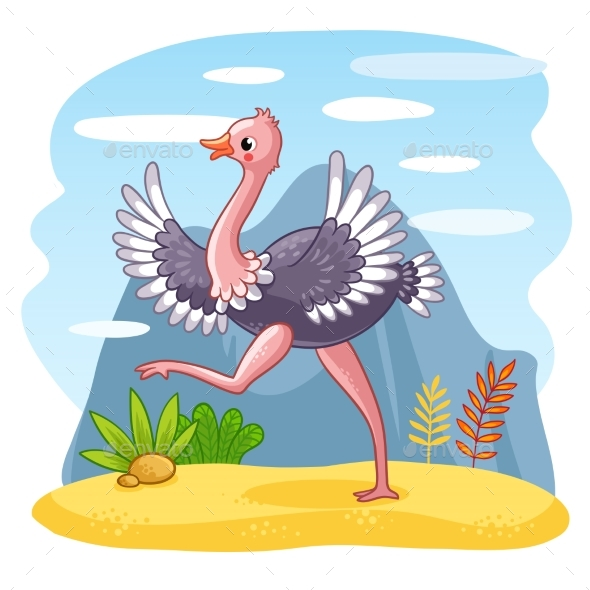 Ostrich Walking Along a Sandy Glade - Animals Characters