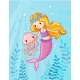 Mermaid with a Jellyfish Underwater - GraphicRiver Item for Sale