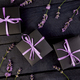 Black Gift box with violet ribbon - PhotoDune Item for Sale