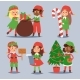 Christmas Elfs Kids Vector Children Santa Claus