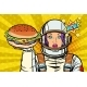 Hungry Woman Astronaut with Burger - GraphicRiver Item for Sale