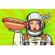 Hungry Woman Astronaut with Hot Dog Sausage - GraphicRiver Item for Sale
