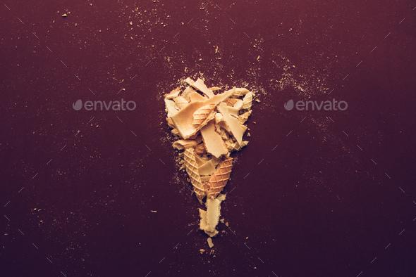 Crushed ice cream cone - Stock Photo - Images