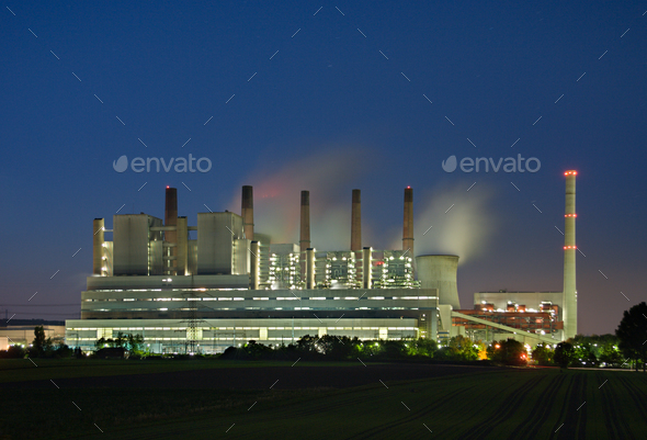 Power Station At Night - Stock Photo - Images