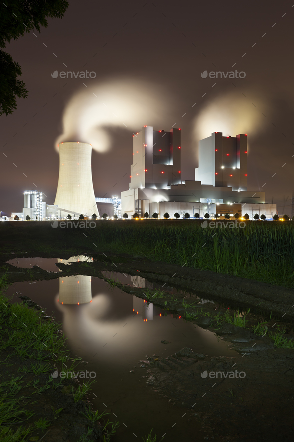Power Station With Reflection At Night - Stock Photo - Images