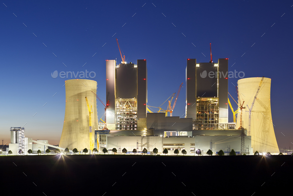 Power Station Construction Site At Night - Stock Photo - Images