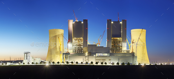 Power Station Construction Site At Night Panorama - Stock Photo - Images