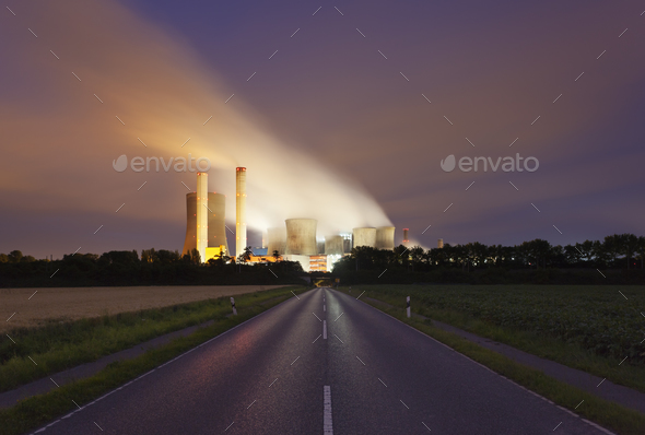Road To Power Station At Night - Stock Photo - Images