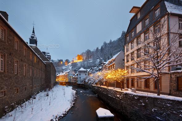 Christmassy Street At Night, Monschau, Germany - Stock Photo - Images