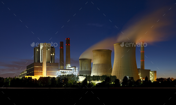 Brown Coal Power Station At Night Panorama - Stock Photo - Images