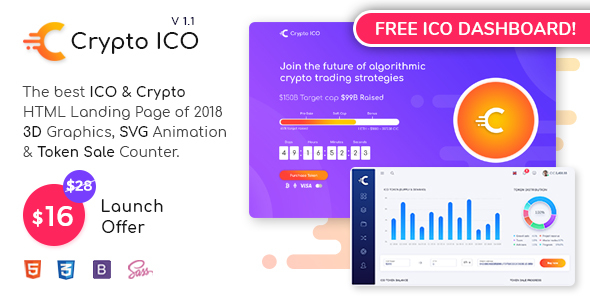 Image of Crypto ICO - Cryptocurrency Website Landing Page HTML + Dashboard Template