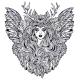 Demonic Winged Angel Magic Woman with Deer