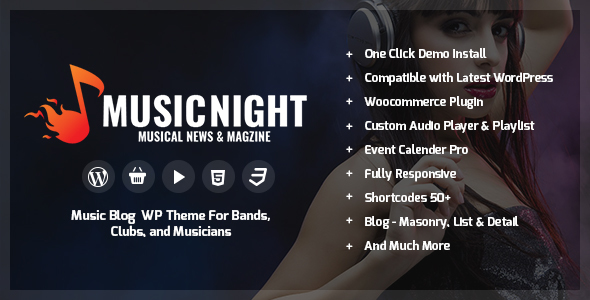 Image of MusicNight Blog WordPress Theme