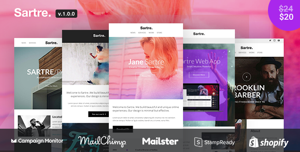 Image of Sartre - Responsive Email Toolkit: 120+ Sections + Online Builder + MailChimp + Mailster + Shopify