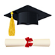 Graduate Cap with a Diploma in the Scroll - GraphicRiver Item for Sale