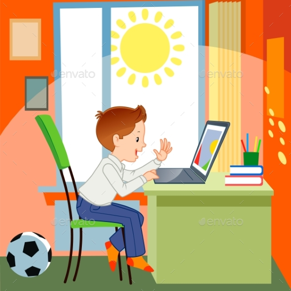 Boy and Notebook - Miscellaneous Vectors