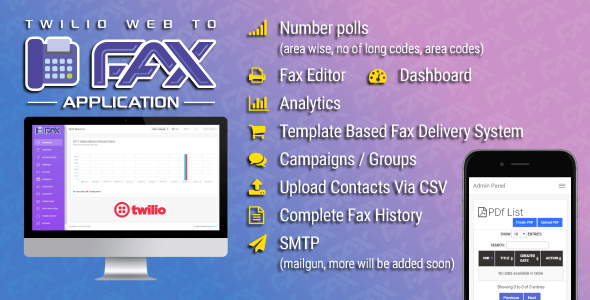 Twilio WEB To Fax Machine System Application PHP Script - CodeCanyon Item for Sale