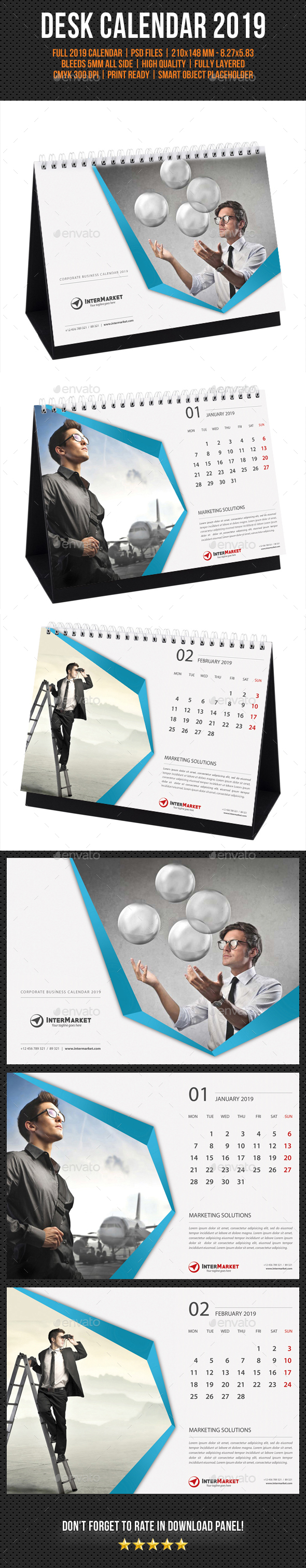 Corporate Desk Calendar 2019 V02 - Calendars Stationery