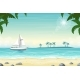 Tropical Beach Landscape with Boat - GraphicRiver Item for Sale