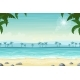 Tropical Beach Landscape with Palm Trees - GraphicRiver Item for Sale