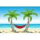 Tropical Beach Landscape with Hammock