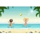 Two Kids Playing in The Water - GraphicRiver Item for Sale