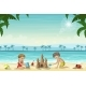 Two Kids Build a Sandcastle - GraphicRiver Item for Sale