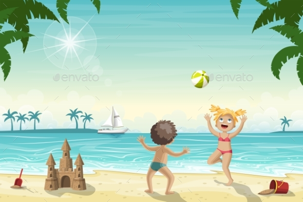 Two Kids Playing on The Beach - People Characters