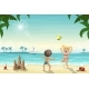 Two Kids Playing on The Beach - GraphicRiver Item for Sale