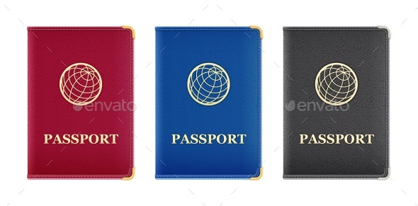 Red Blue and Black Passport Cover - Travel Conceptual