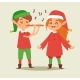 Christmas Elf Kids Vector