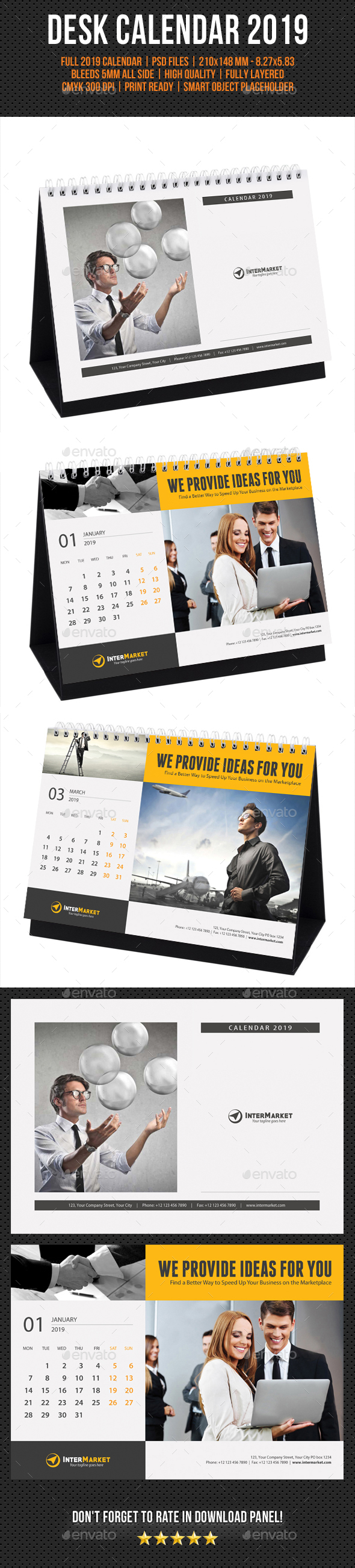 Corporate Desk Calendar 2019 - Calendars Stationery