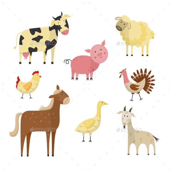 Vector Farm Animals and Birds Flat Set - Animals Characters