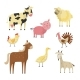 Vector Farm Animals and Birds Flat Set