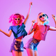 Two DJ Girl Hipster with Fashion Hairstyle Dance. - PhotoDune Item for Sale