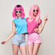 Hipster Girls Blowing lips. Pink Fashion Hairstyle - PhotoDune Item for Sale