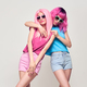 Two Hipster Girls, Pink Fashion Hairstyle Hugging - PhotoDune Item for Sale