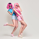 Two Girls Having Fun Dance. Pink Fashion Hairstyle - PhotoDune Item for Sale