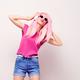 DJ Girl, Pink Fashion Hairstyle Listening Music - PhotoDune Item for Sale
