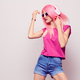 DJ Girl, Pink Fashion Hairstyle Listening Music - PhotoDune Item for Sale