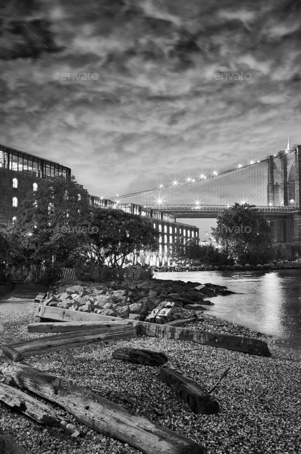 Under the Brooklyn Bridge, New York. - Stock Photo - Images