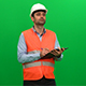 Engineer Preparing Report On A Green Screen - VideoHive Item for Sale