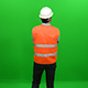Rear View of  Architect Wearing Helmet on Green Screen - VideoHive Item for Sale
