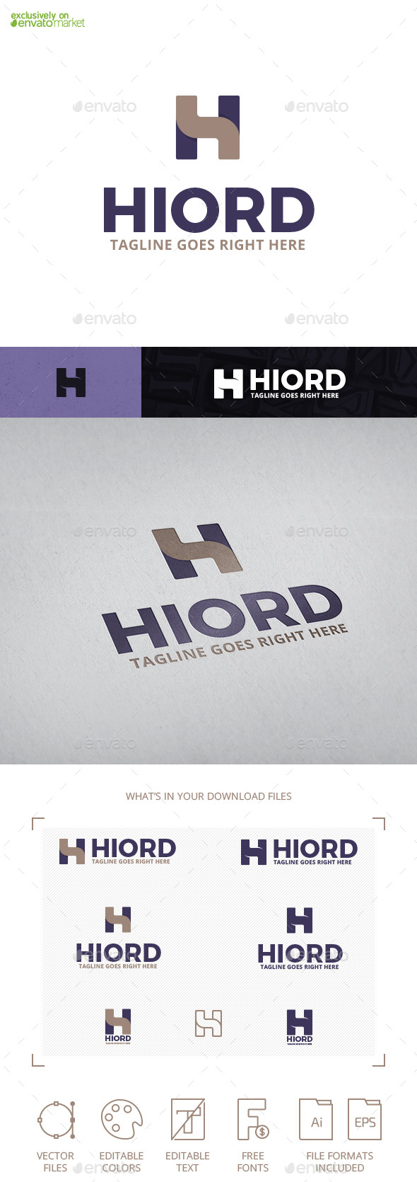 Hiord Letter H Logo Template - Letters Logo Templates