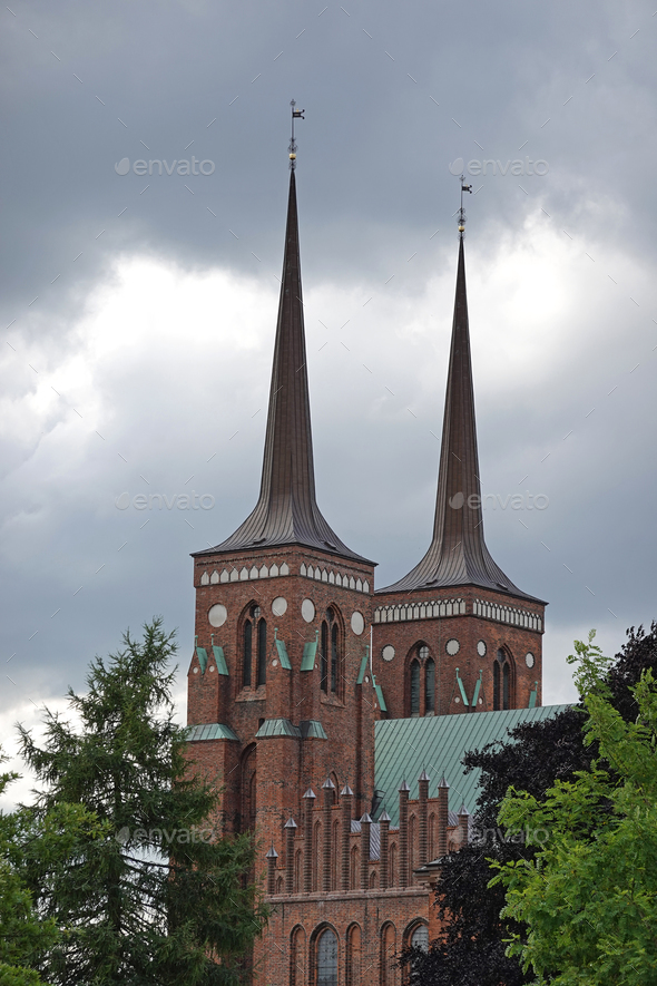 Roskilde cathedral of kings - Stock Photo - Images